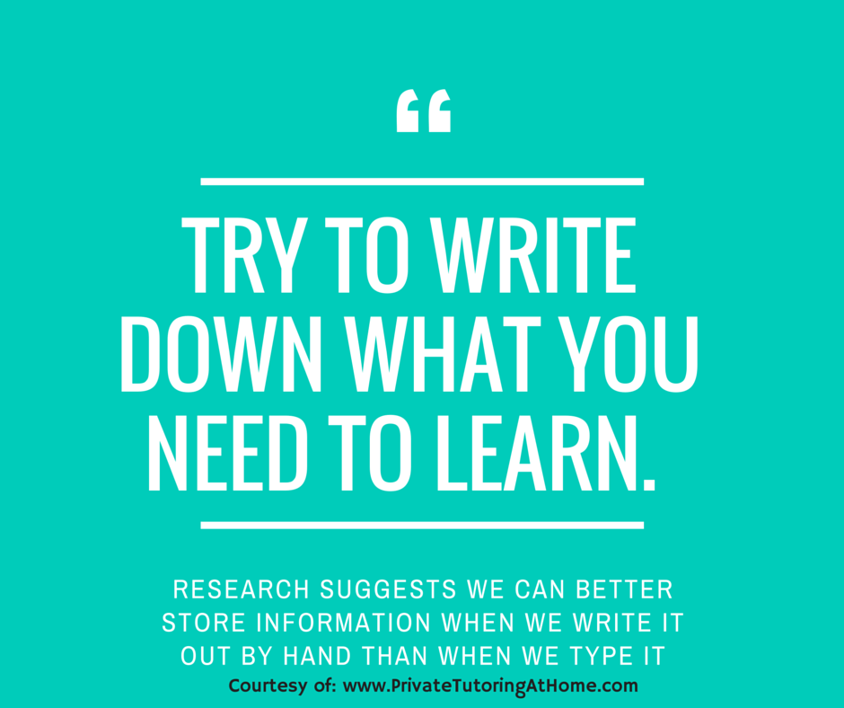 How to Study Tips - Write it down
