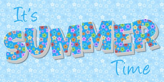 Summer time slogan blue